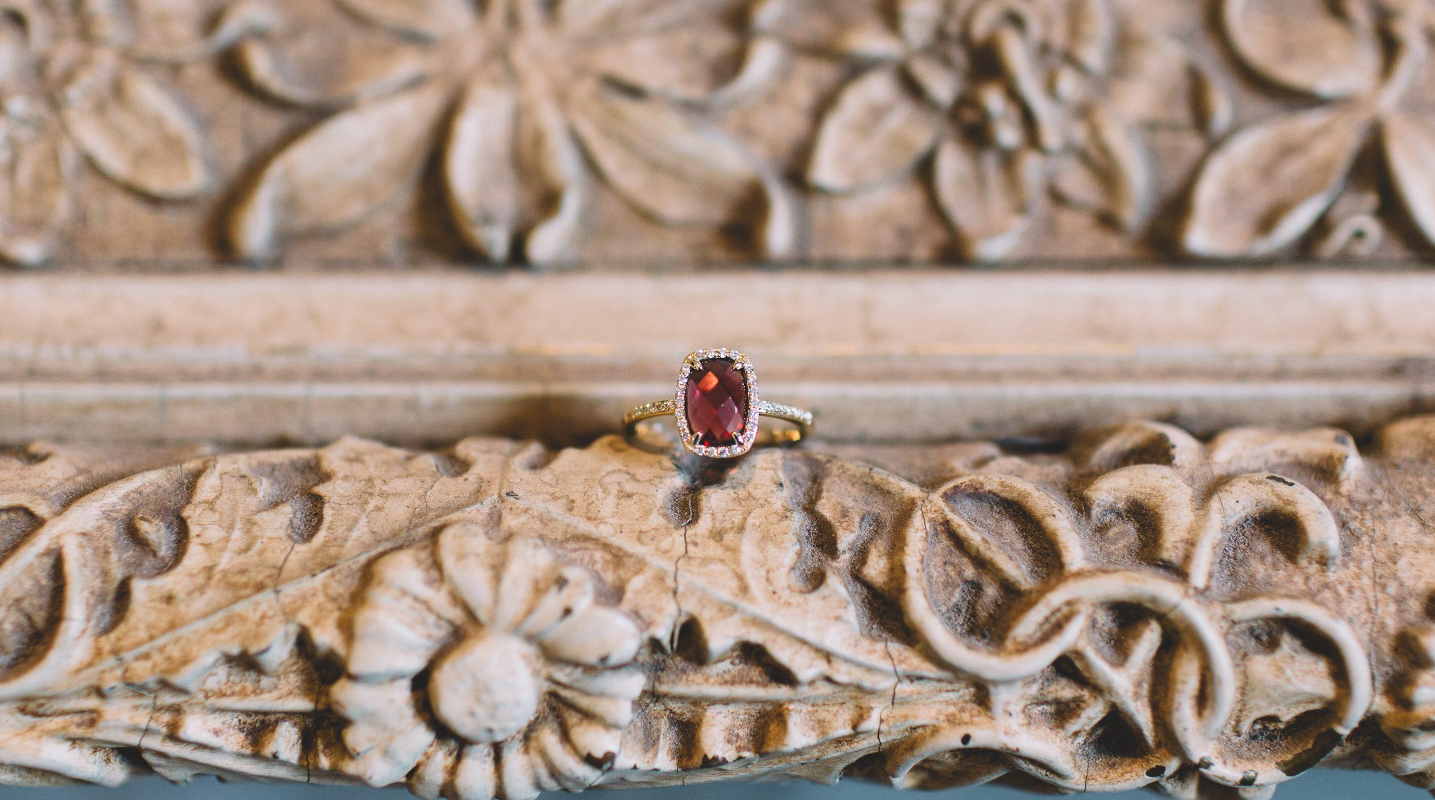 Garnet Vintage Engagement Ring